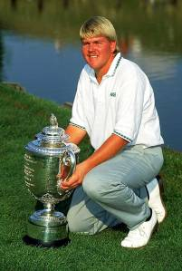 CROOKED STICK - AUGUST:  John Daly of the USA with the trophy after winning the USPGA Championship at Crooked Stick in Carmel, Indiana, USA in August 1991. (photo by Stephen Munday/Getty Images)